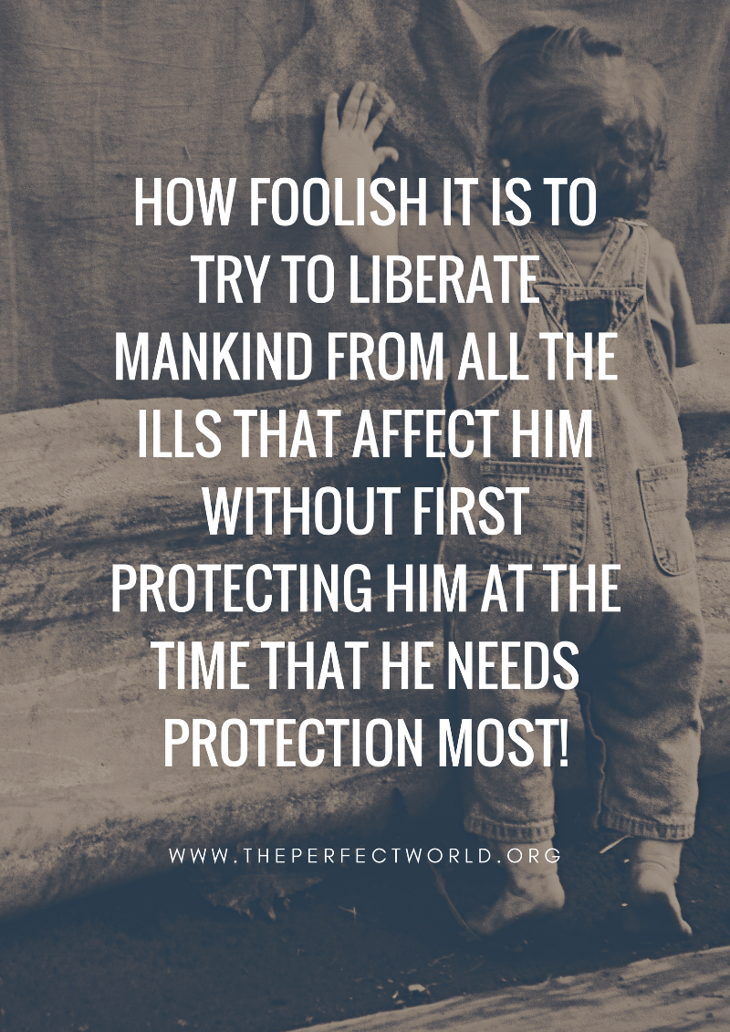 How foolish it is to try to liberate mankind from all the ills that affect him without first protecting him at the time that he needs protection most!